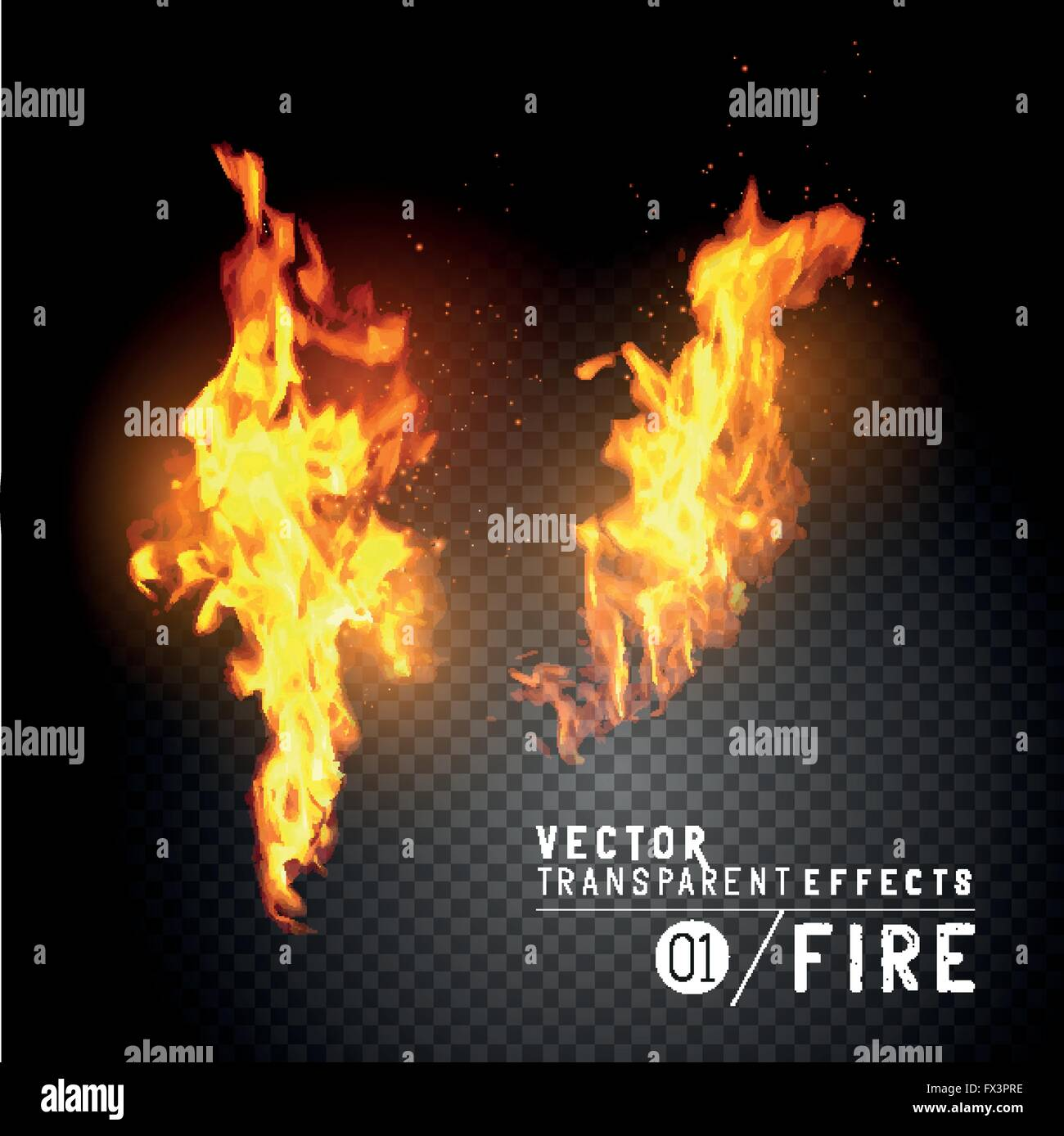 Realistic Vector Fire Flames. Transparent vector effects.  Flames with sparks. Vector illustration. Stock Vector