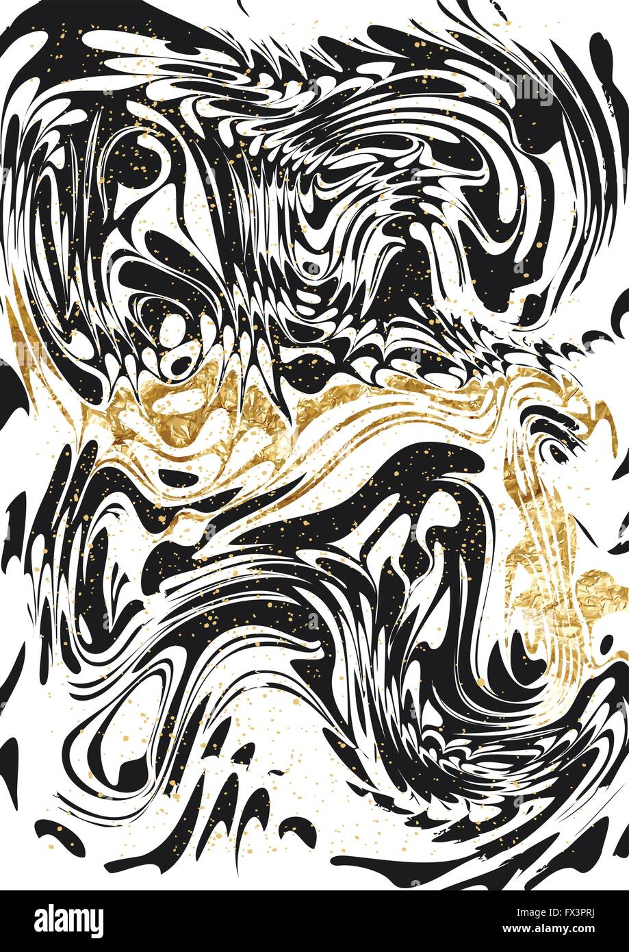 Black and Gold marble Paper Pattern. Abstract marble paint pattern with gold. Vector illustration. - Stock Image