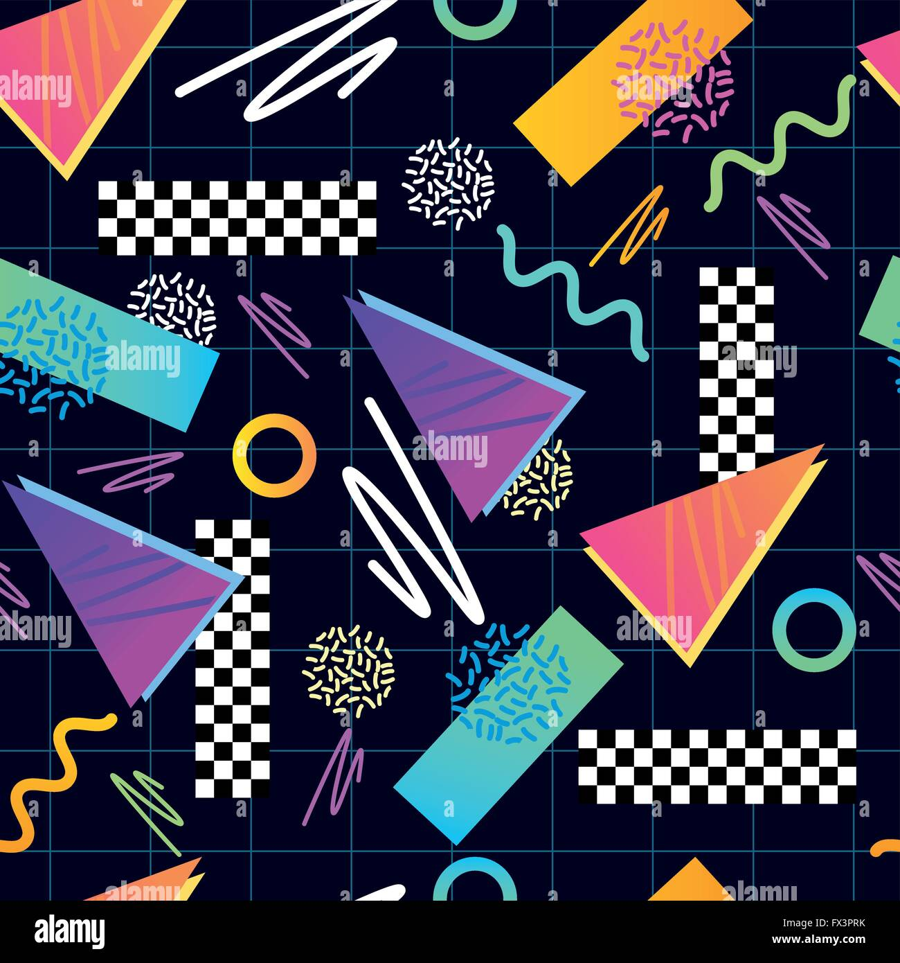 Eighties Seamless Pattern Vector. Classic 1980s seamless grid pattern. Vector illustration. - Stock Image