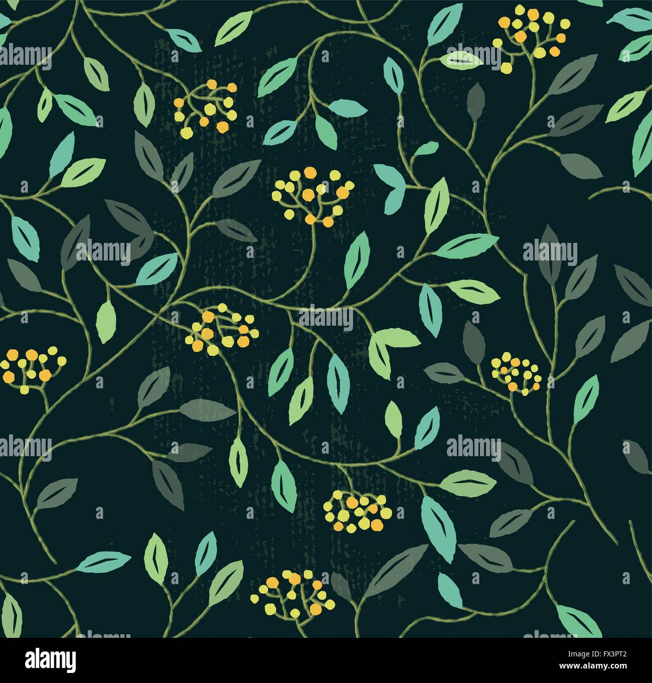 Floral Summer Seamless Pattern. Repeating floral elements background. Vector illustration - Stock Image