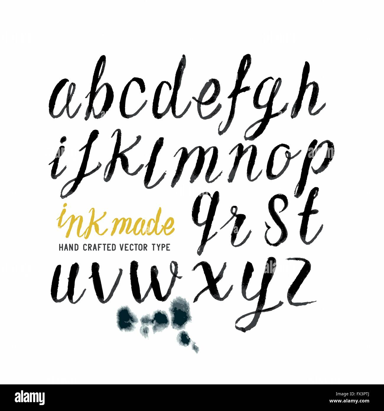 Black Ink Brush Letters. Hand made Alphabet lettering in brushed ink. Vector illustration. - Stock Image