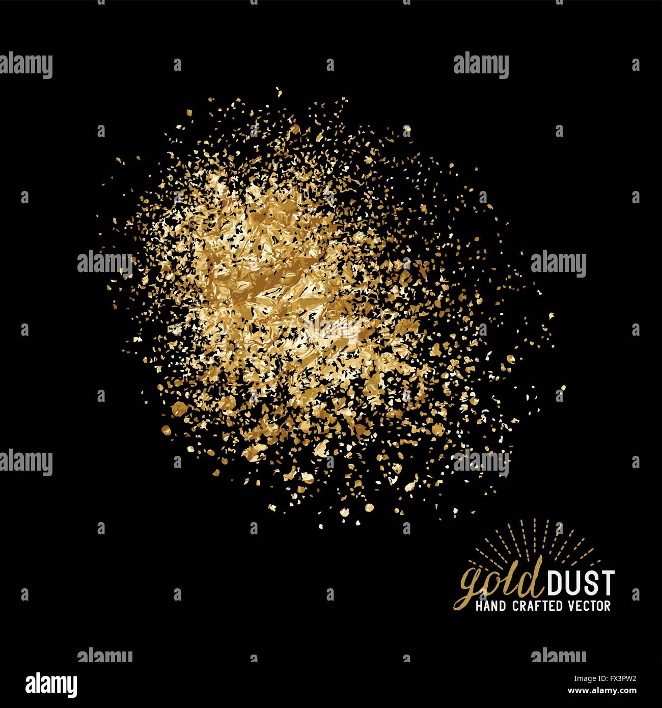 Vector Gold Dust. Foil gold dust particles. Vector illustration. - Stock Image