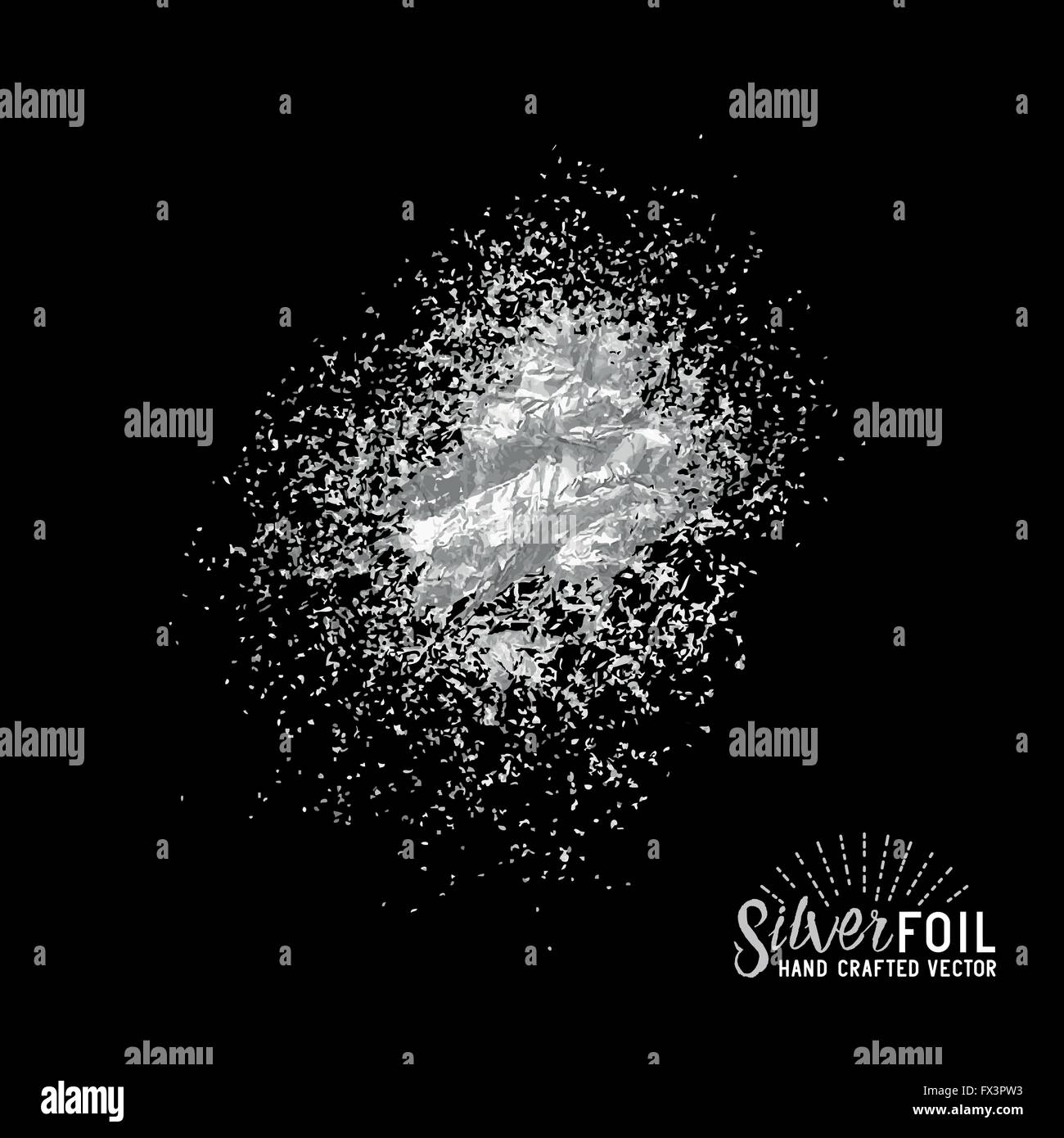 Vector Silver Dust. Foil silver dust particles. Vector illustration. - Stock Image