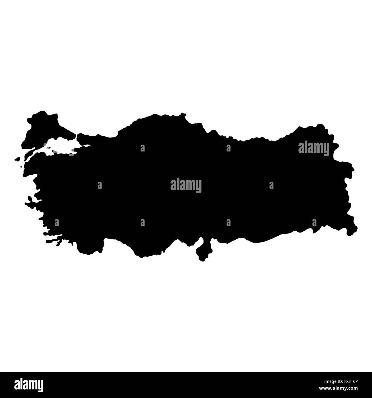 Turkey map on a white background - Stock Image
