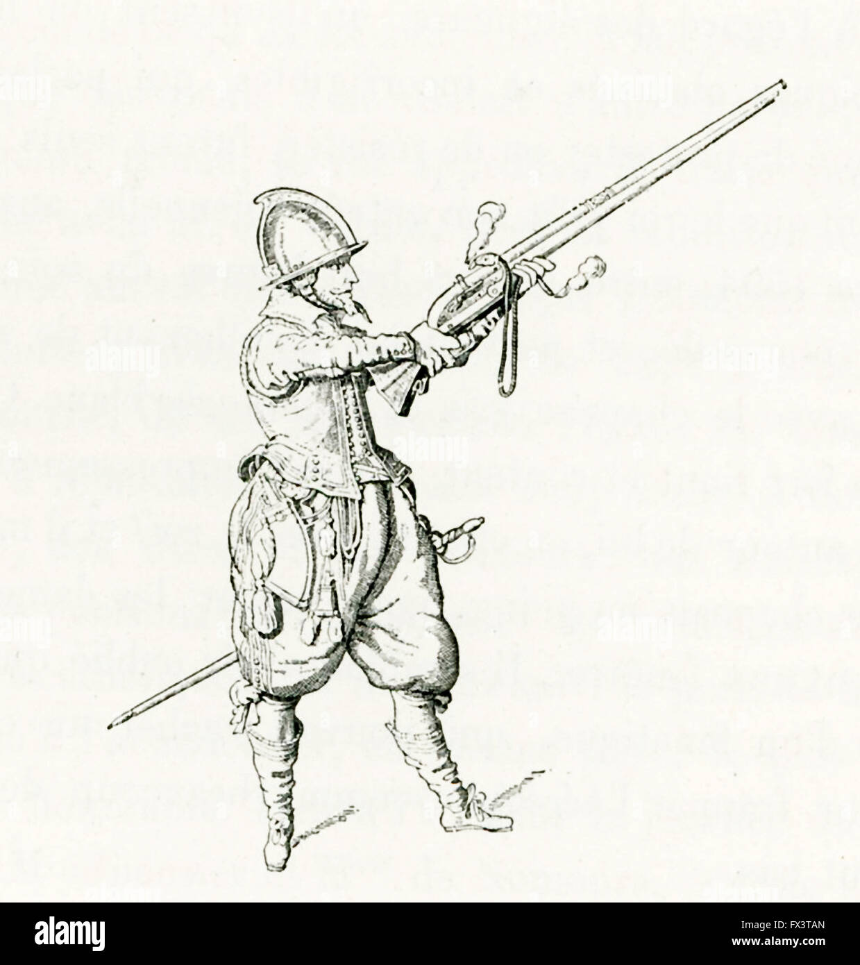 An arquebusier refers to a person who uses an arquebus, a matchlock shoulder gun. A good suit of armor would stop - Stock Image