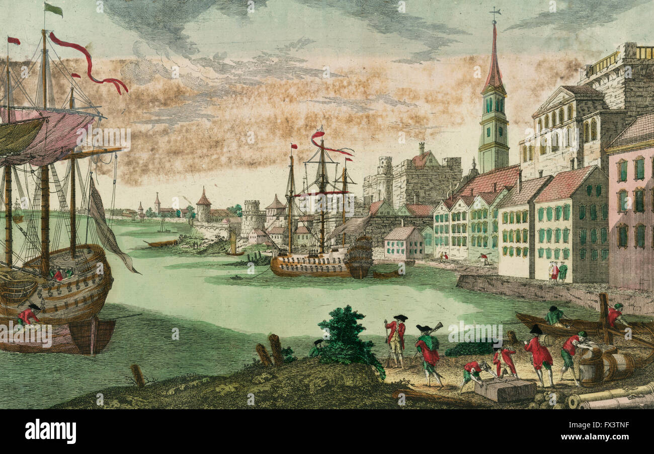 Vue de Boston Print shows the harbor in Boston, Massachusetts, two ships at anchor, British soldiers and men working, - Stock Image