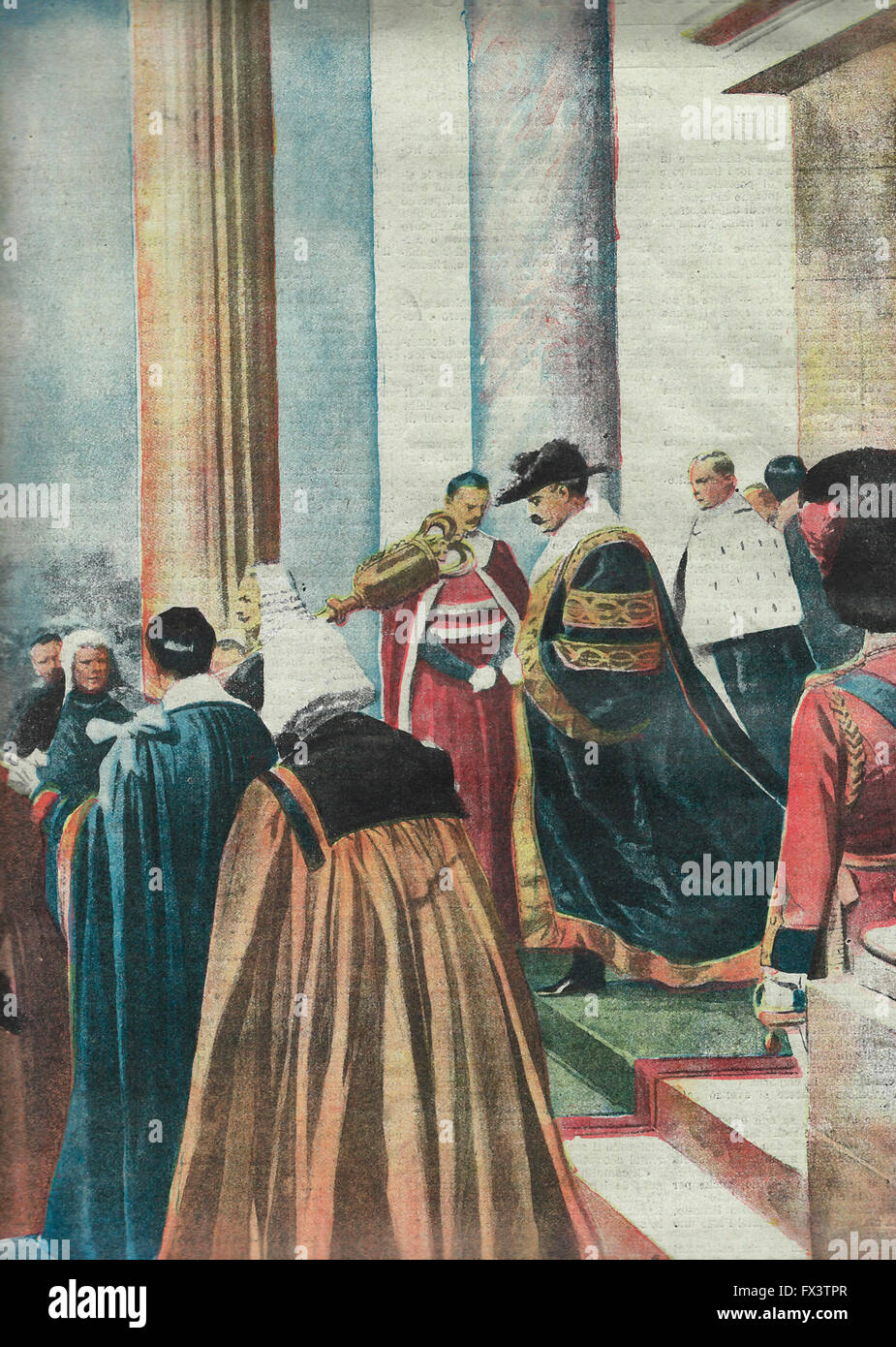 The picturesque and grand ceremonies for the proclamation of the new Lord Mayor of London : The first magistrate - Stock Image