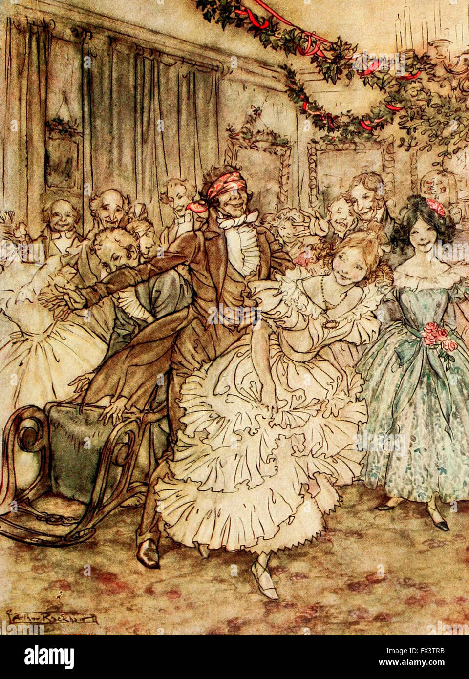 The way he went after the plump sister in the lace tucker!  A scene from A Christmas Carol - Stock Image