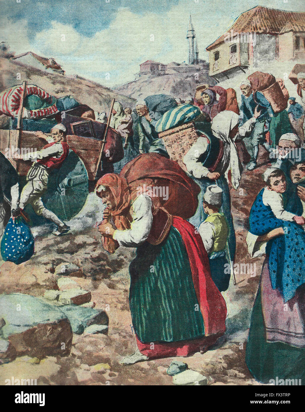 The exodus of Christians from Tirana on the imminent entry of Essad Pasha. 1913. Balkan Wars - Stock Image