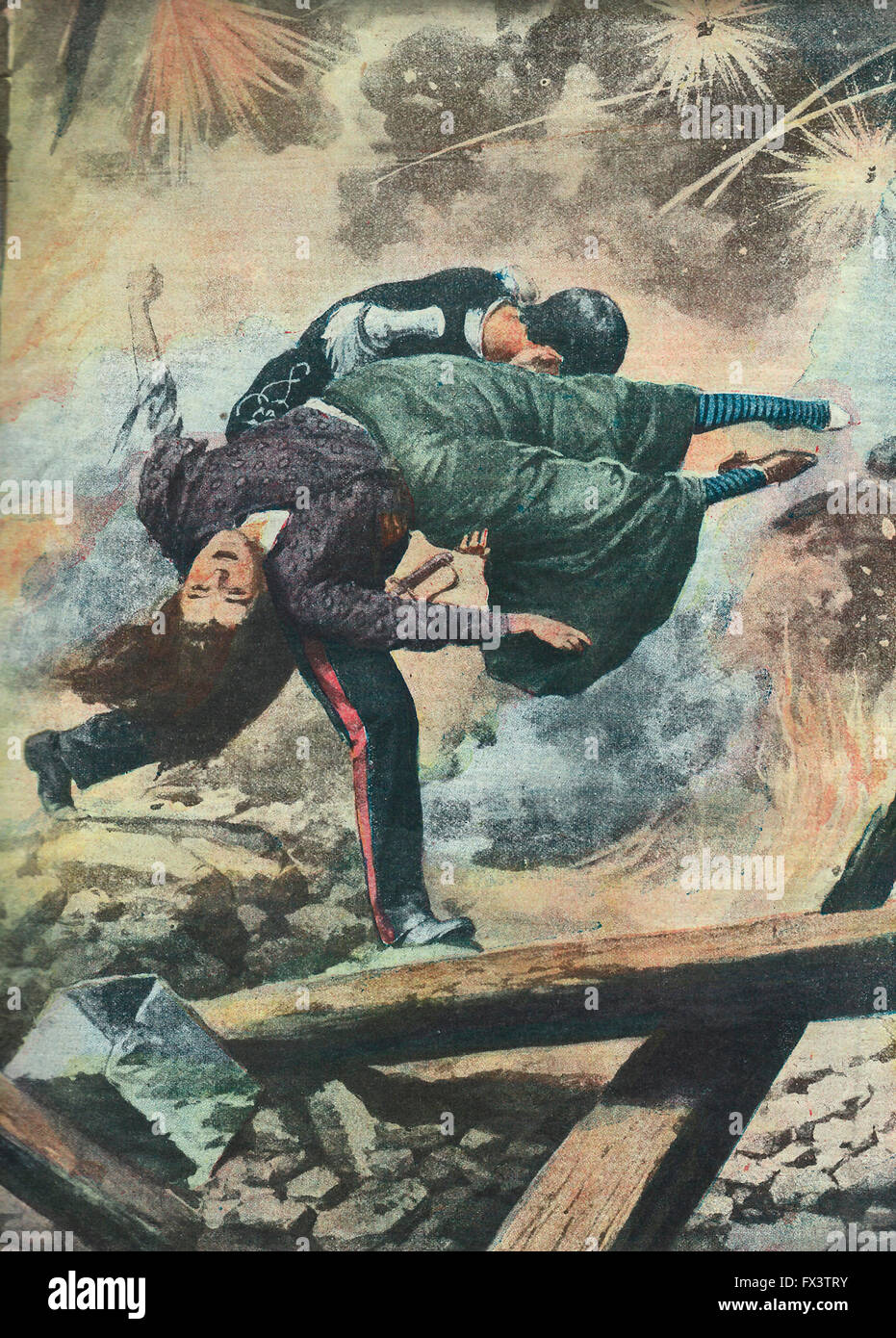 A major disaster in a fireworks factory in Rome - The heroism of a police sergeant  1913 - Stock Image