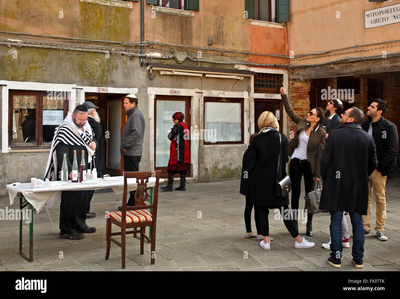 Jews in Campo de Ghetto Novo, the islet of the Jews, Sestiere di Cannaregio, Venice - Stock Image