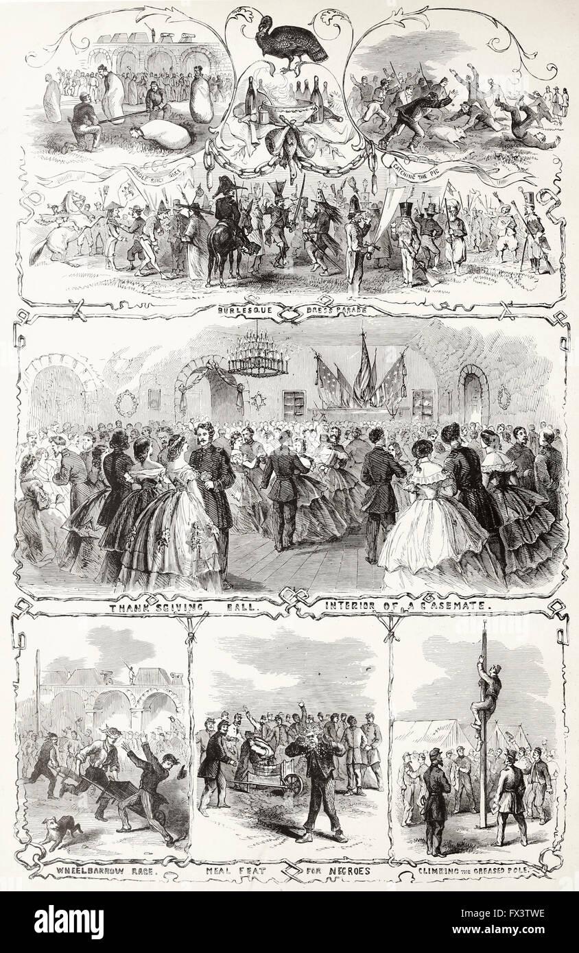 Thanksgiving Festivities at Fort Pulaski, Georgia, November 27th, 1862. USA Civil War - Stock Image