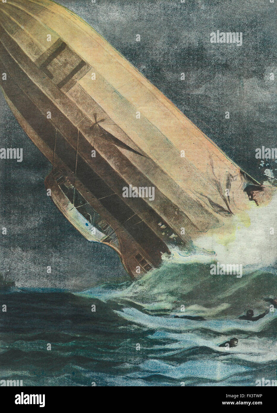 The tragic fate of Zeppelin: German airship overwhelmed by the hurricane at Helgoland falls, breaks and sinks crew - Stock Image