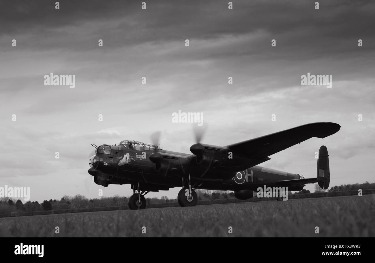 Avro Lancaster 'Just Jane' at Lincolnshire Aviation Heritage Centre, East Kirkby, Lincolnshire - Stock Image