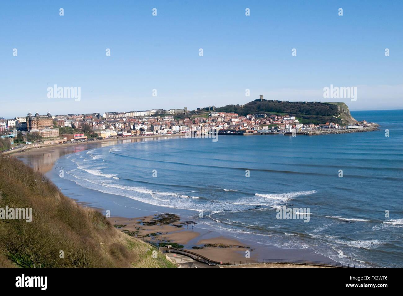 Scarborough bay yorkshire coast coastal town beach beaches seafront sea north east eastern uk - Stock Image