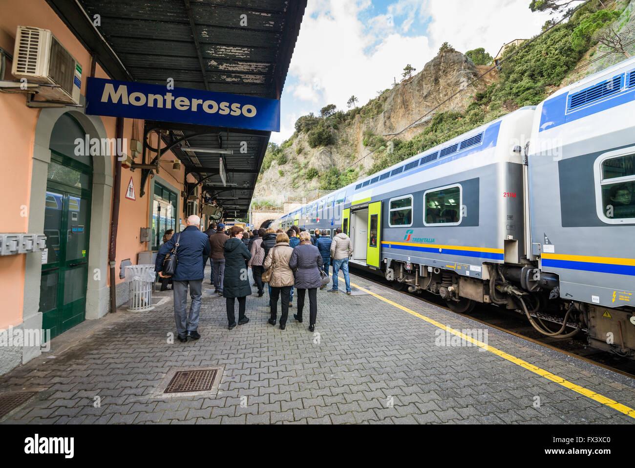 Train station in  Monterosso al Mare, Cinque terre, Italy, Europe - Stock Image