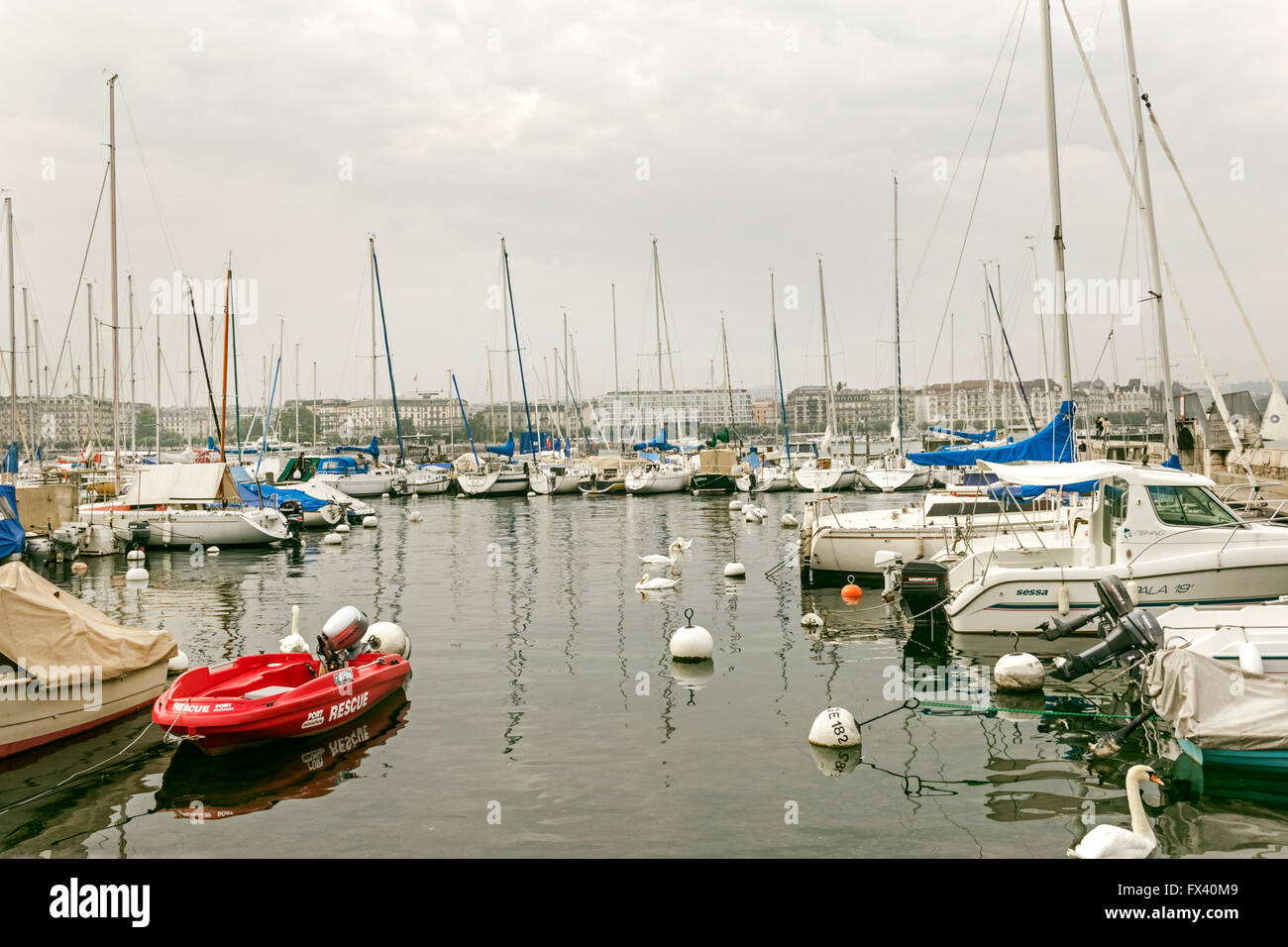 Jeneve, Switzerland - october 4, 2013: centre if city on Lac Leman, Geneve Lake, at autumn cloudy day - Stock Image
