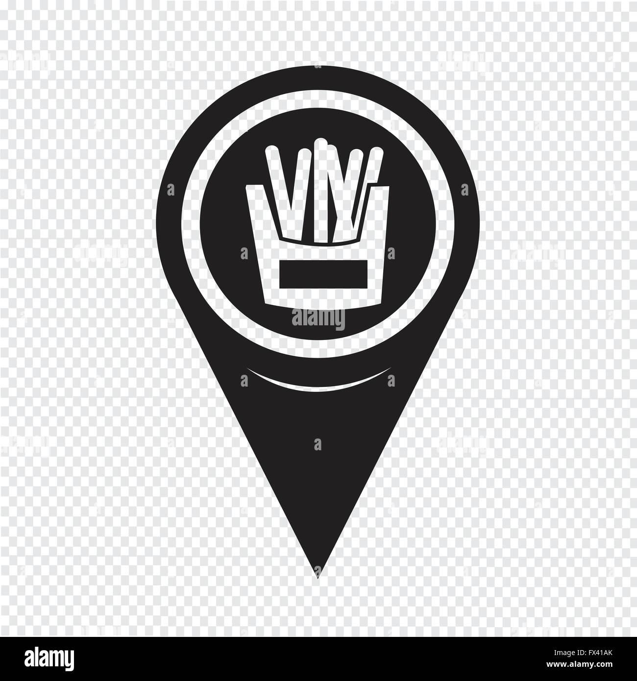 Map Pin Pointer potato fries icon - Stock Vector