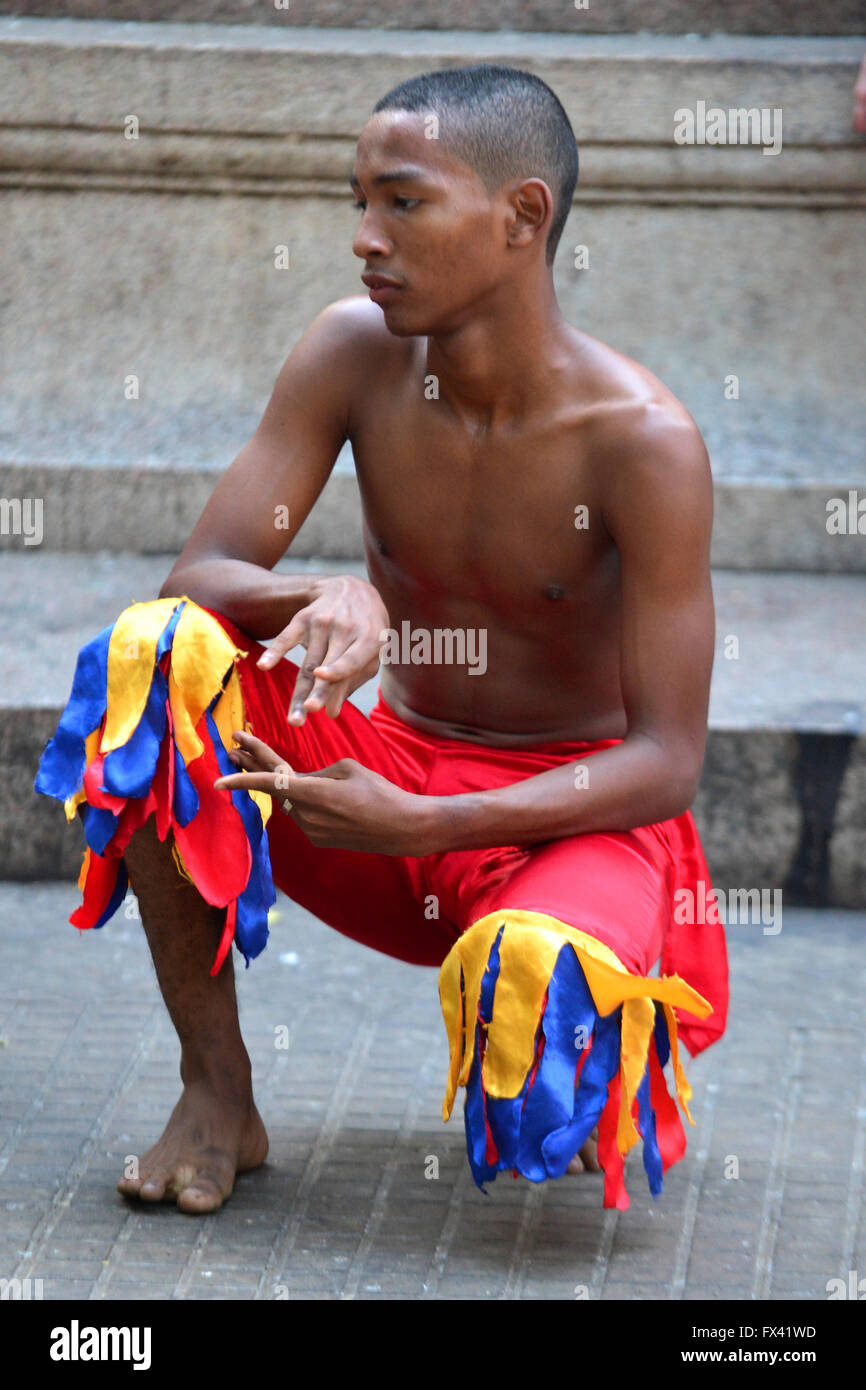 Street performer in Cartagena Colombia - Stock Image