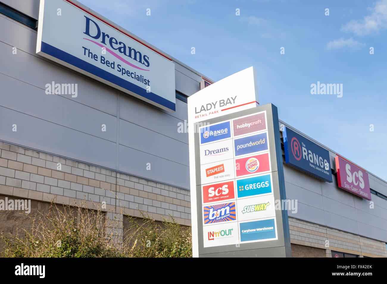 Signs at Lady Bay Retail Park, Nottingham, England, UK - Stock Image