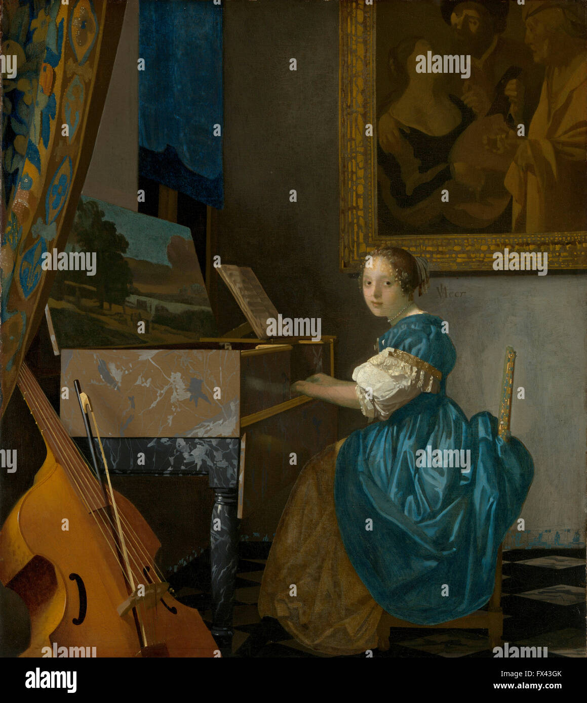 Lady Seated at a Virginal by Vermeer - Stock Image