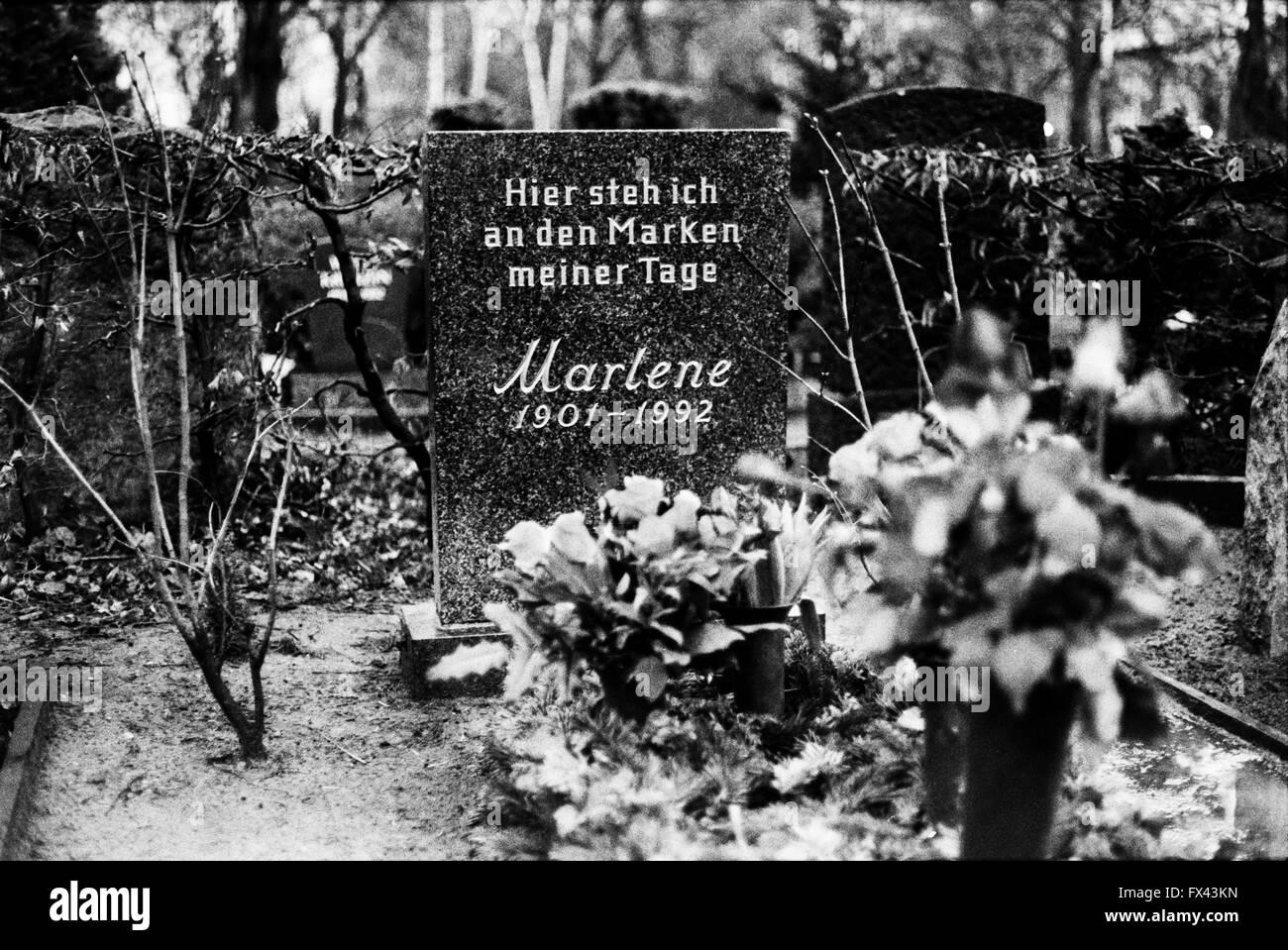 Archive image of the grave of Marlene Dietrich,  1901-1992, Friedenau cemetery, Stubenrauchstrasse, Berlin, March - Stock Image