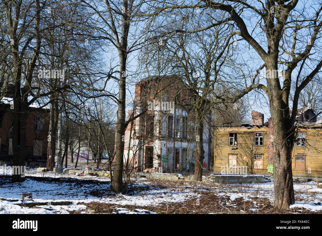 Burned and Demolished old wooden houses in Kopli Tallinn Estonia - Stock Image