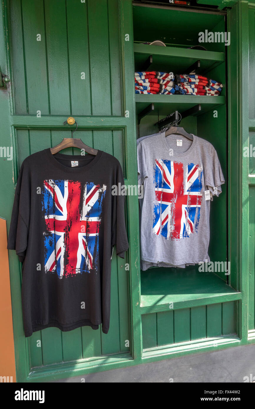 895add5ea50 British Union Jack Flag Design Tee Shirts For Sale In Universal Studios  Theme Park Orlando Florida