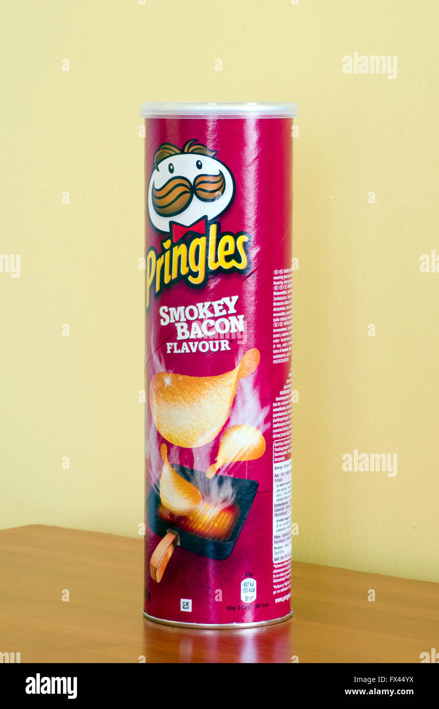 Tube of Pringles Smokey Bacon Flavour Crisps or Potato Chips - Stock Image