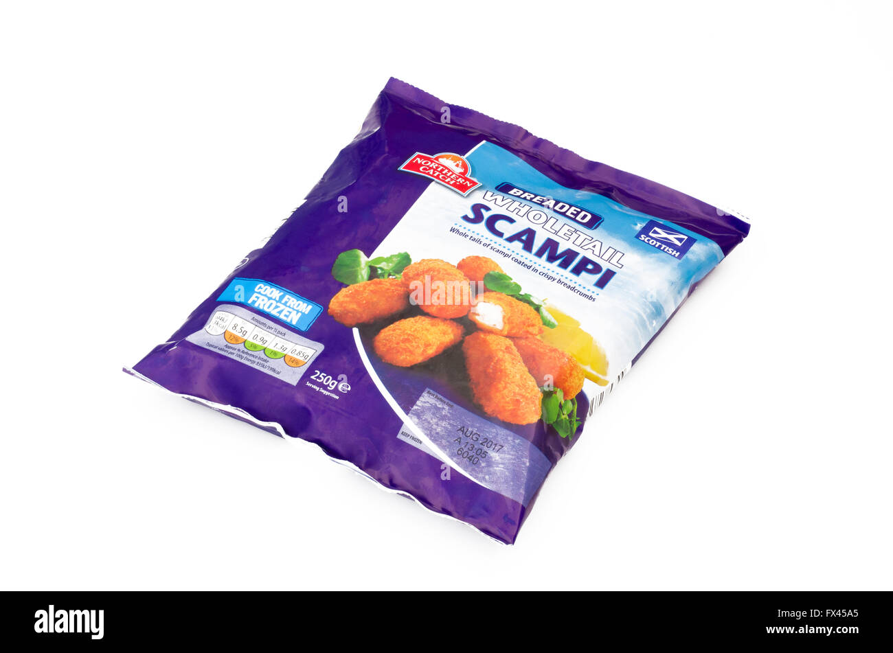 Packet of Breaded Scottish Wholetail Scampi on a White Background - Stock Image