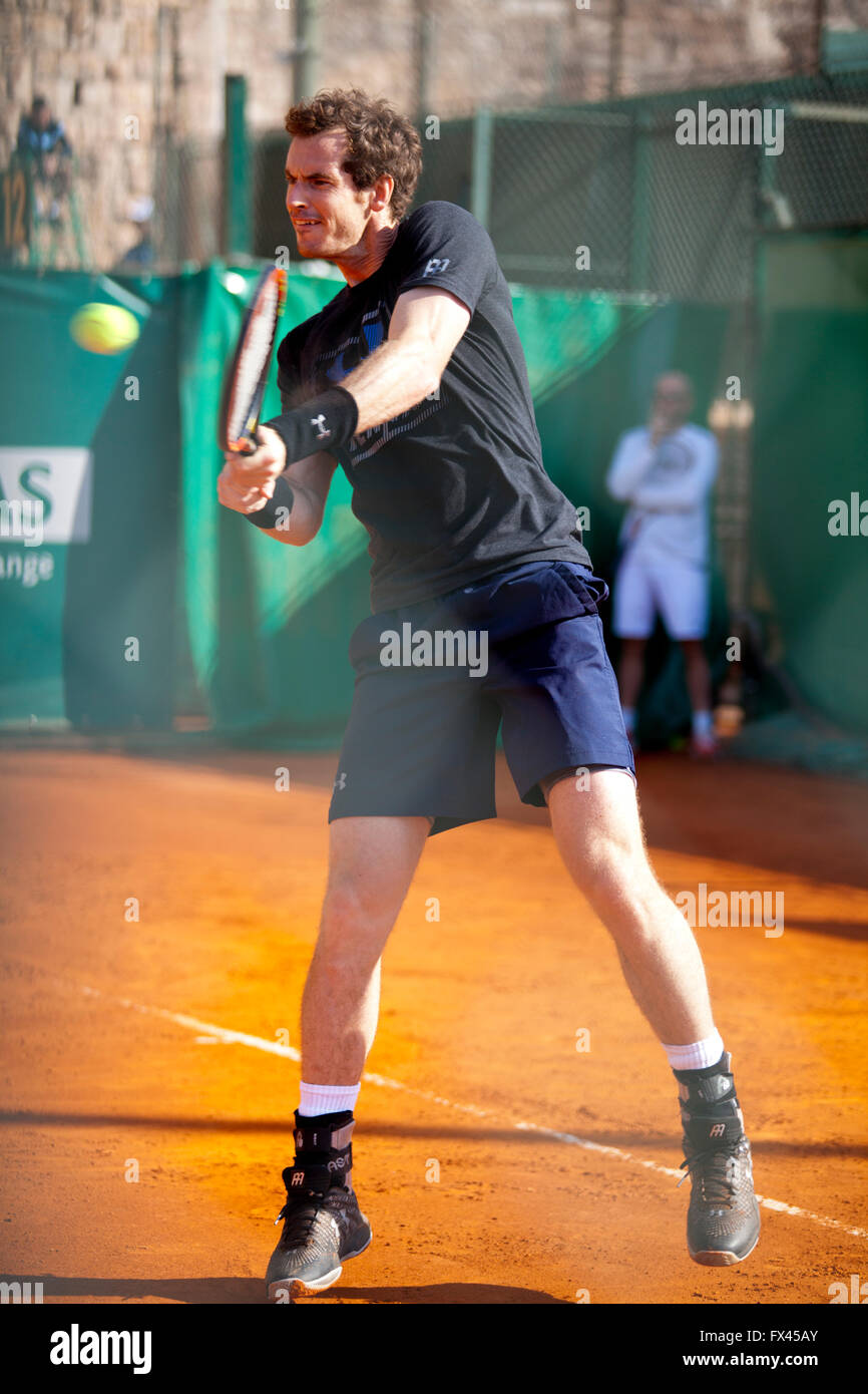 Monte Carlo Rolex Masters ATP, Monaco. Andy Murray hitting the ball with backhand - Stock Image