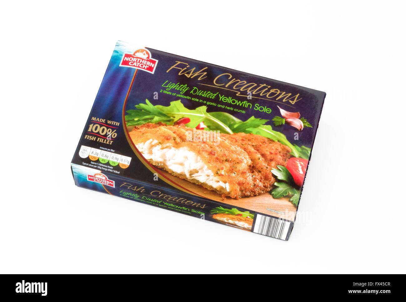 Pack of Frozen Yellowfin Sole Fish Fillets, UK - Stock Image