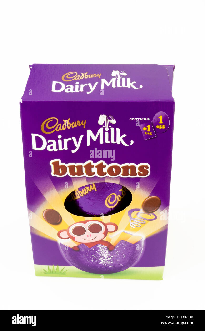 Cadbury Dairy Milk Buttons Chocolate Easter Egg On A White