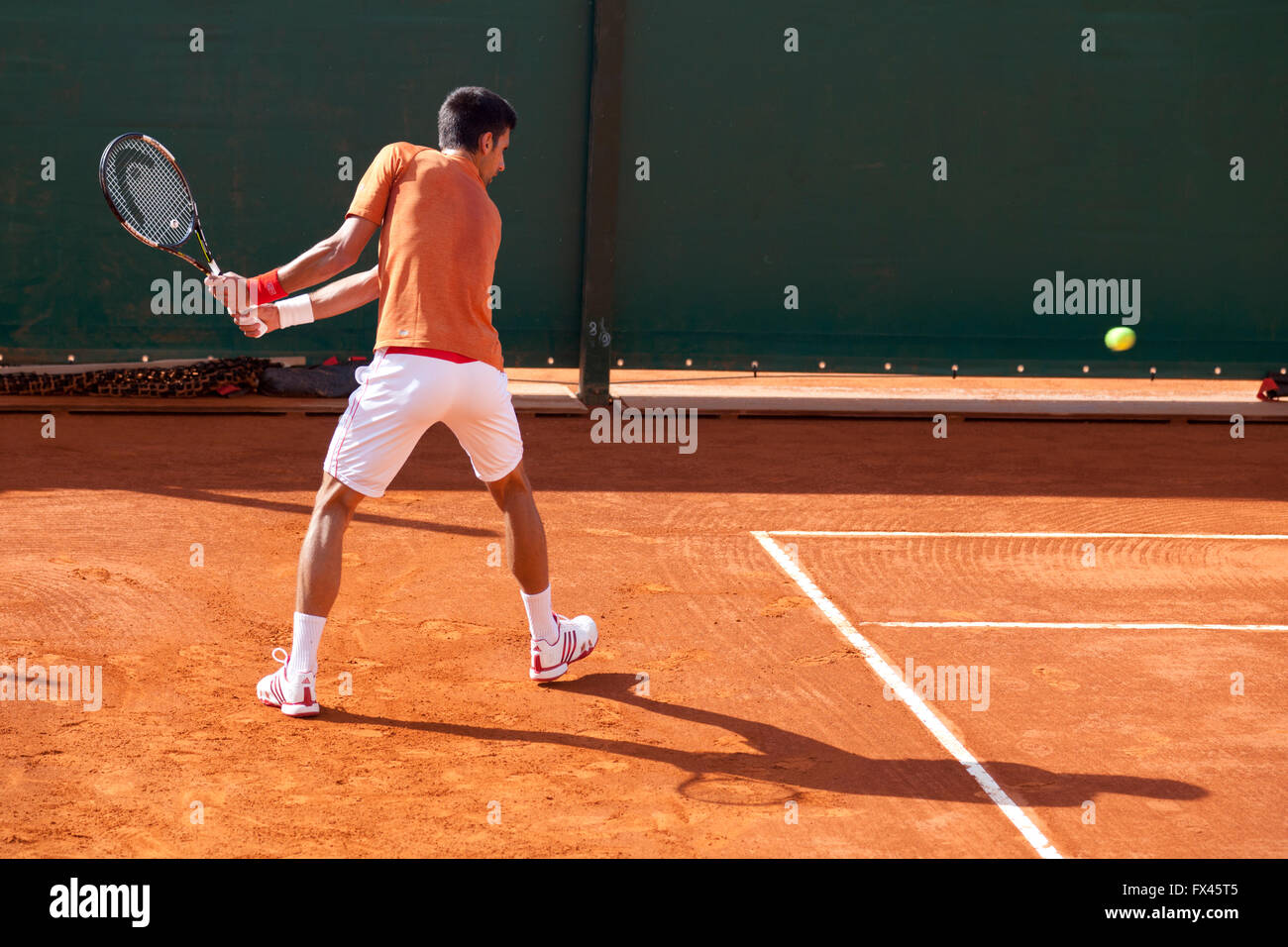 Monte Carlo Rolex Masters ATP, Monaco. Novac Djokovic training on court - Stock Image