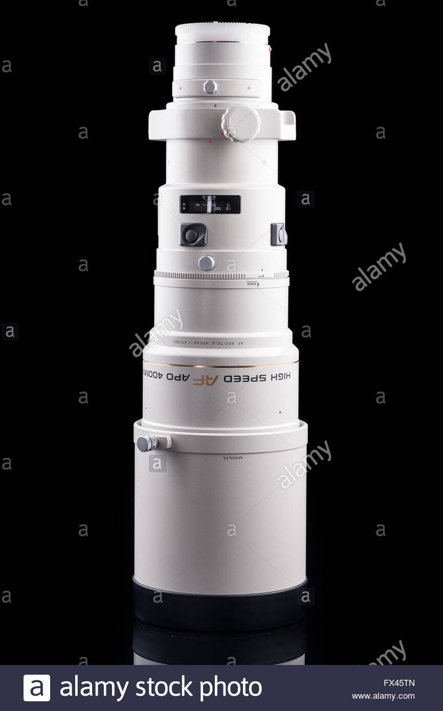 Minolta AF 400mm F4.5 HS APO G telephoto prime lens that can be used with Sony A-mount cameras - Stock Image
