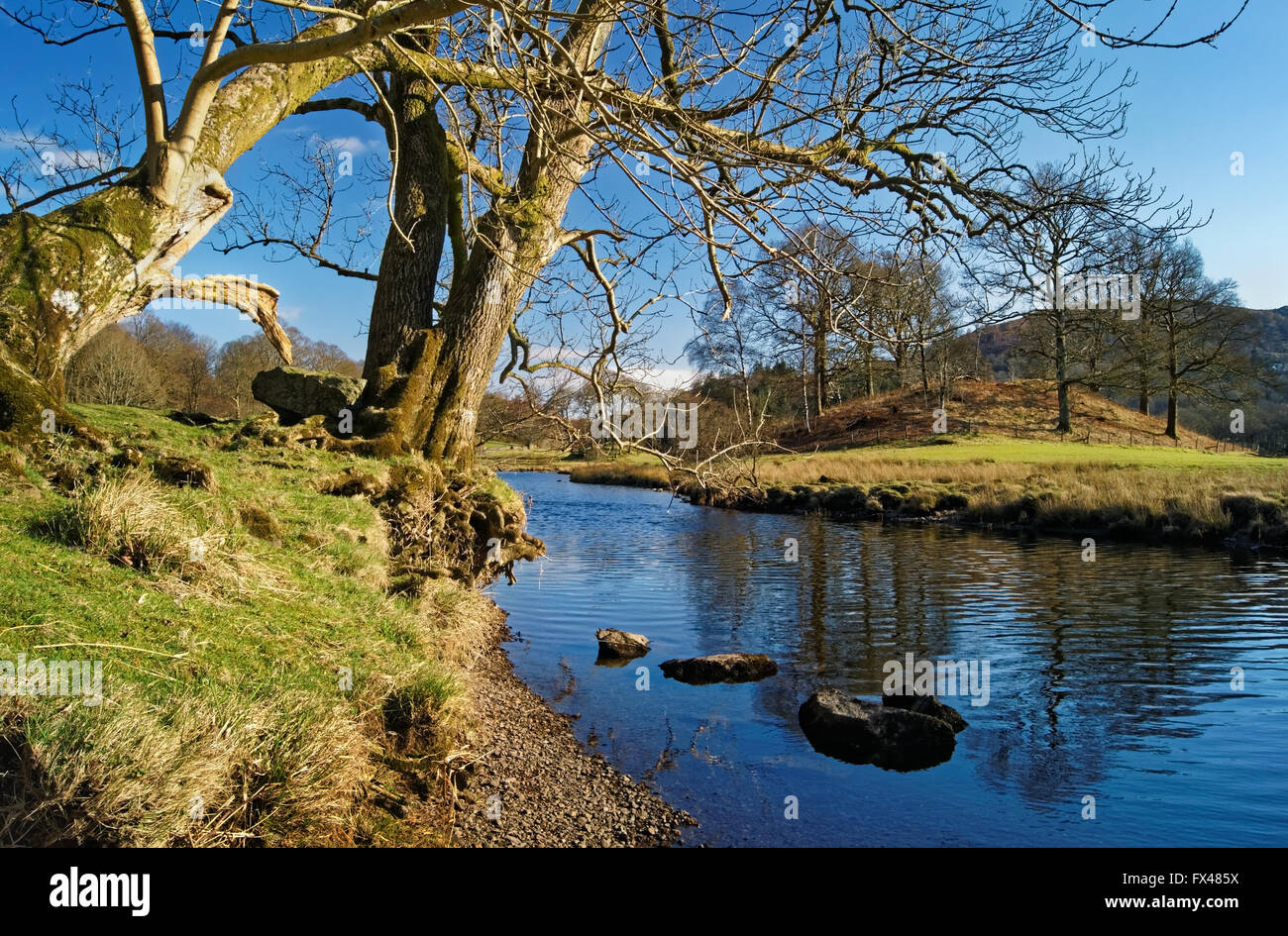 UK,Cumbria,Lake District,River Brathay near Elterwater Stock Photo