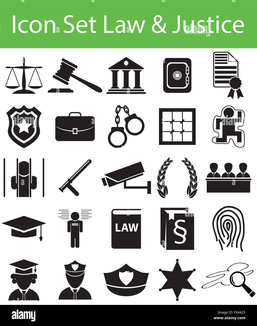 Icon Set Law and Justice with 25 icons for the creative use in graphic design - Stock Image