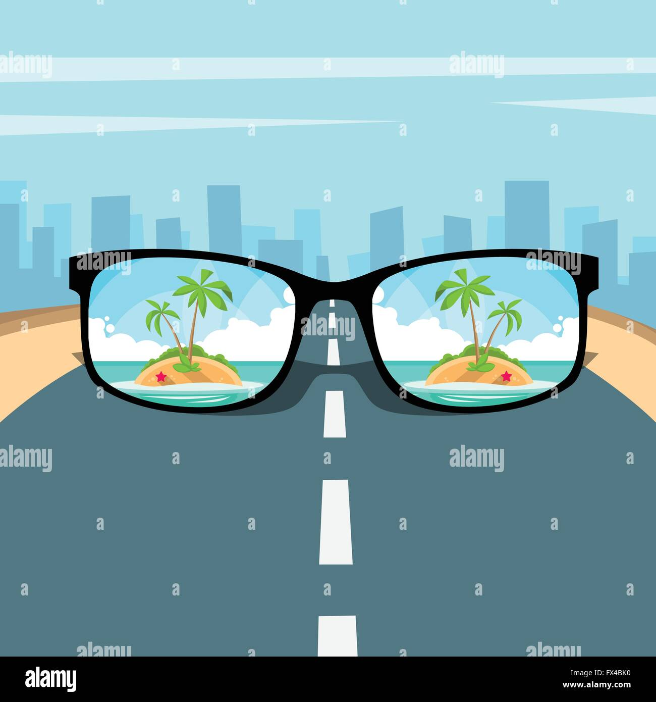 Eye Glasses With Summer Sea Island Beach Picture Vacation