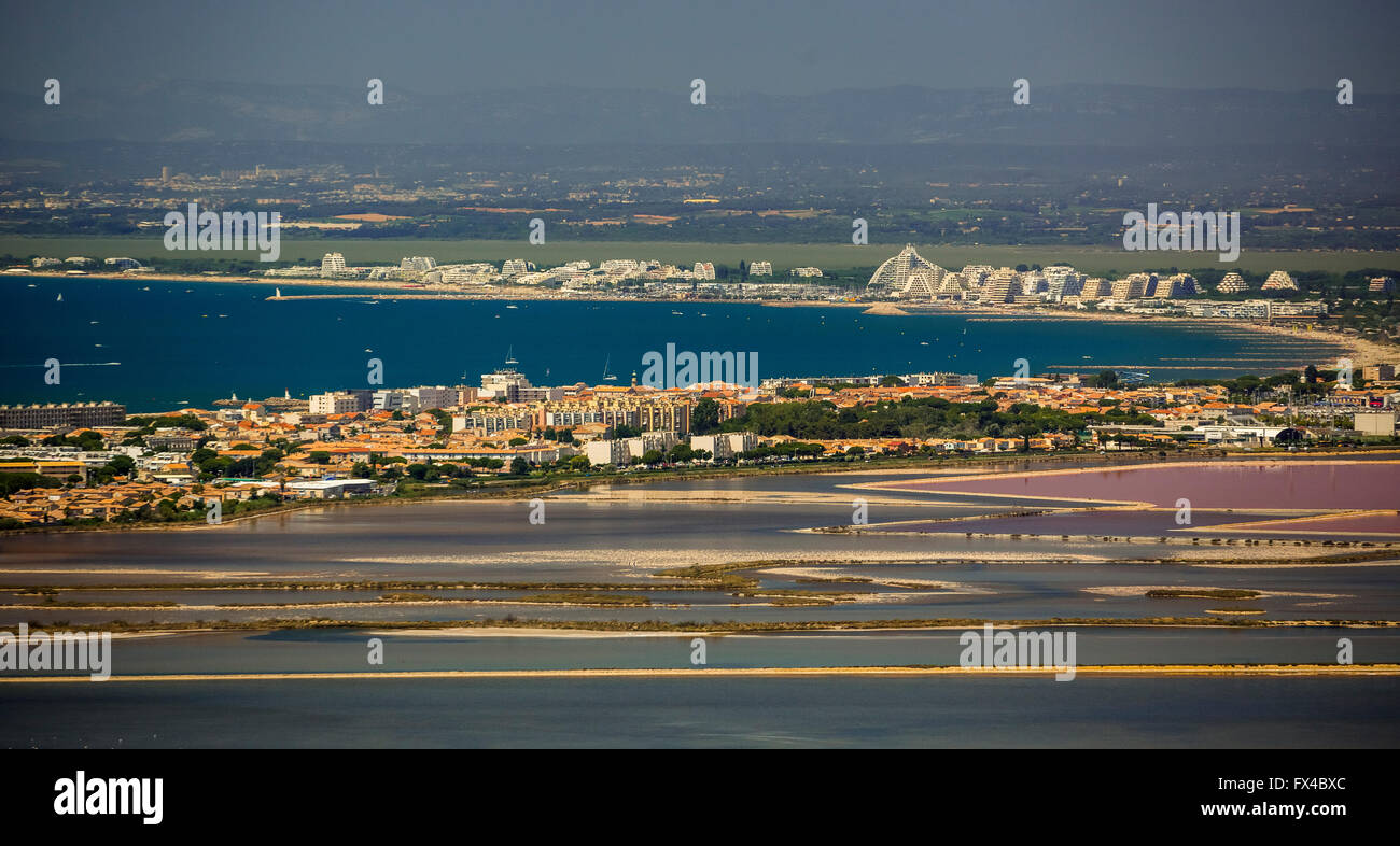 Aerial view, Camargue, Aigues-Mortes, France, Mediterranean Panorama, Languedoc-Roussillon, France, Europe,the Mediterranean - Stock Image