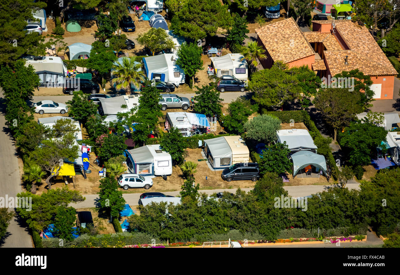 Aerial view, campsite of Canet-en-Roussillon on the Mediterranean Sea, Mediterranean coast, South of France, the - Stock Image