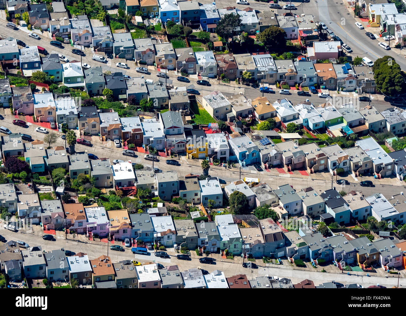Aerial view, typical American residential area on the