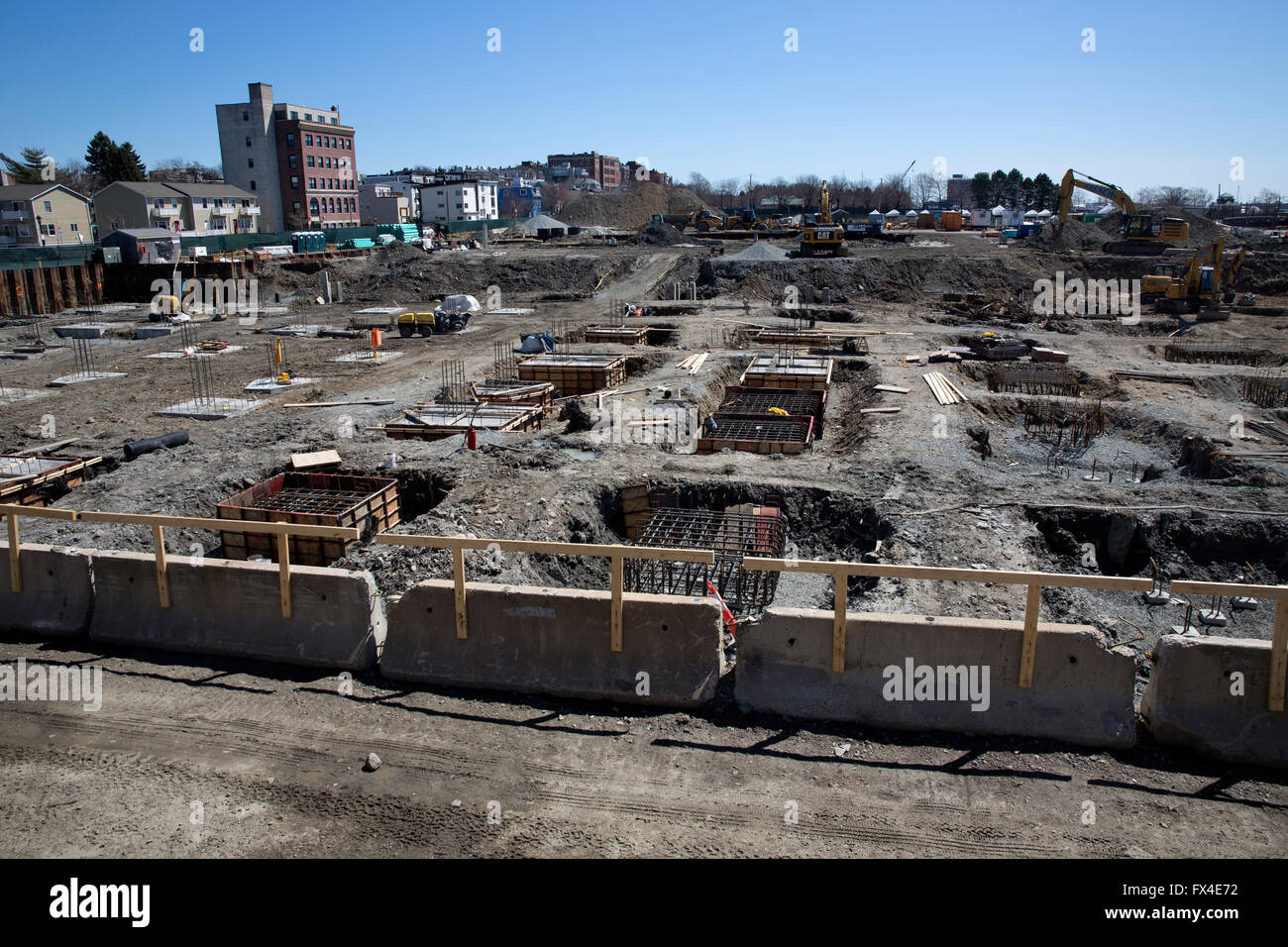 Housing construction site known as Portside at East Pier, East Boston, Massachusetts, USA - Stock Image