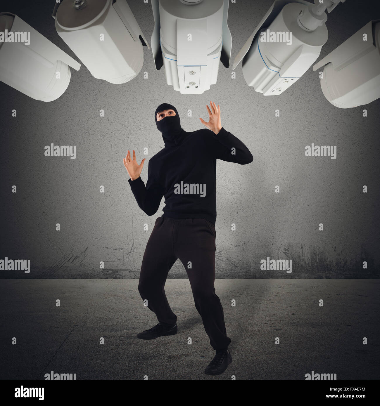 Thief caught red-handed - Stock Image