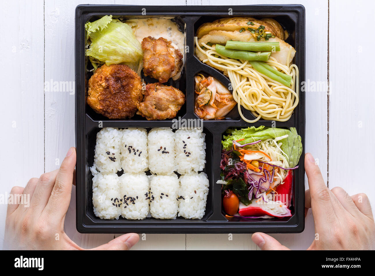 Bento Box Set Traditional Japanese Food Set For Lunch Stock Photo
