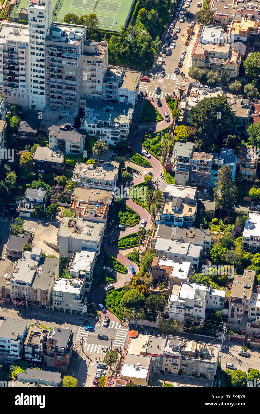 Aerial view, Lombard Street, winding road, curve road, streets of San Francisco, tourist attractions, San Francisco, - Stock Image