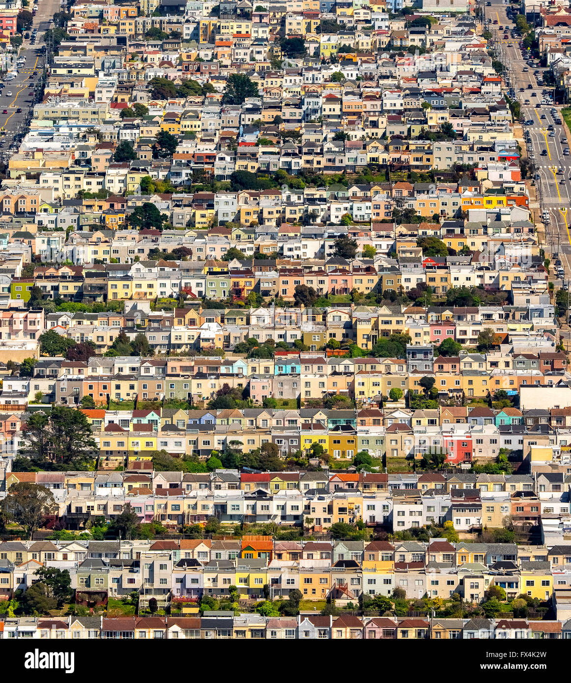 Aerial View, Living Series, House Series, Doelger City, Outer Sunset, West  Of San Francisco, Rows Of Houses, San Francisco, Bay