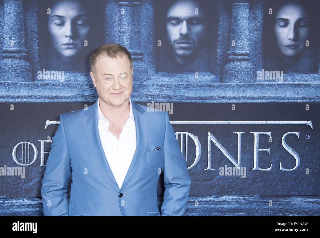 Hollywood, California, USA. 10th Apr, 2016. Owen Teale as Alliser Thorne --- HBO's Game of Thrones 2016 Season - Stock Image