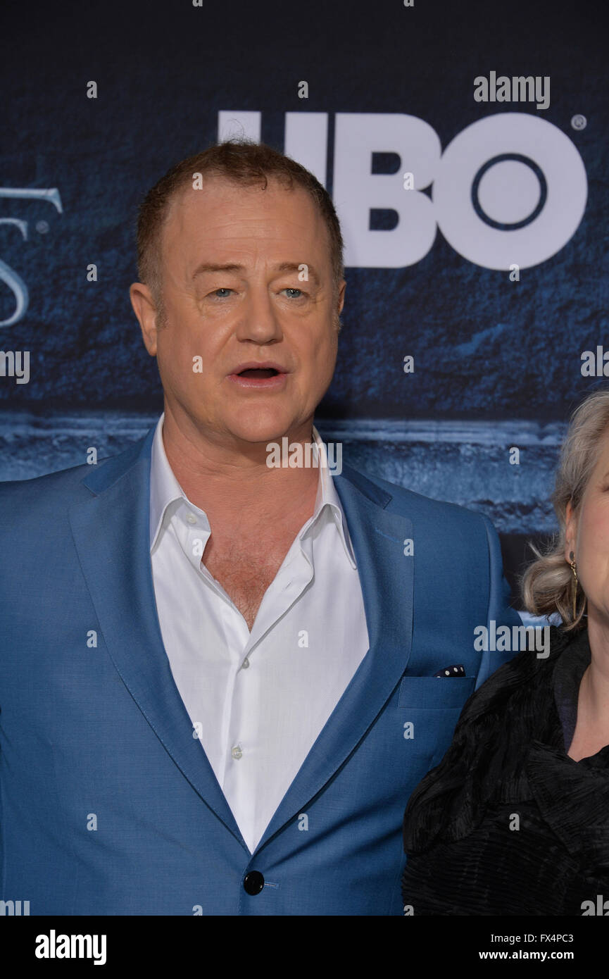 Los Angeles, California, USA. 10th April, 2016. Actor Owen Teale at the season 6 premiere of Game of Thrones at - Stock Image
