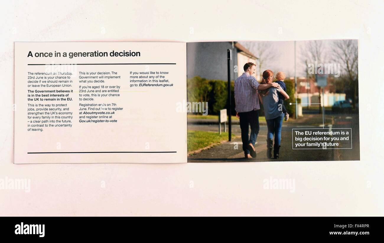 EU referendum campaign leaflets delivered to UK residents, Britain. Government's pro European Union leaflet - Stock Image