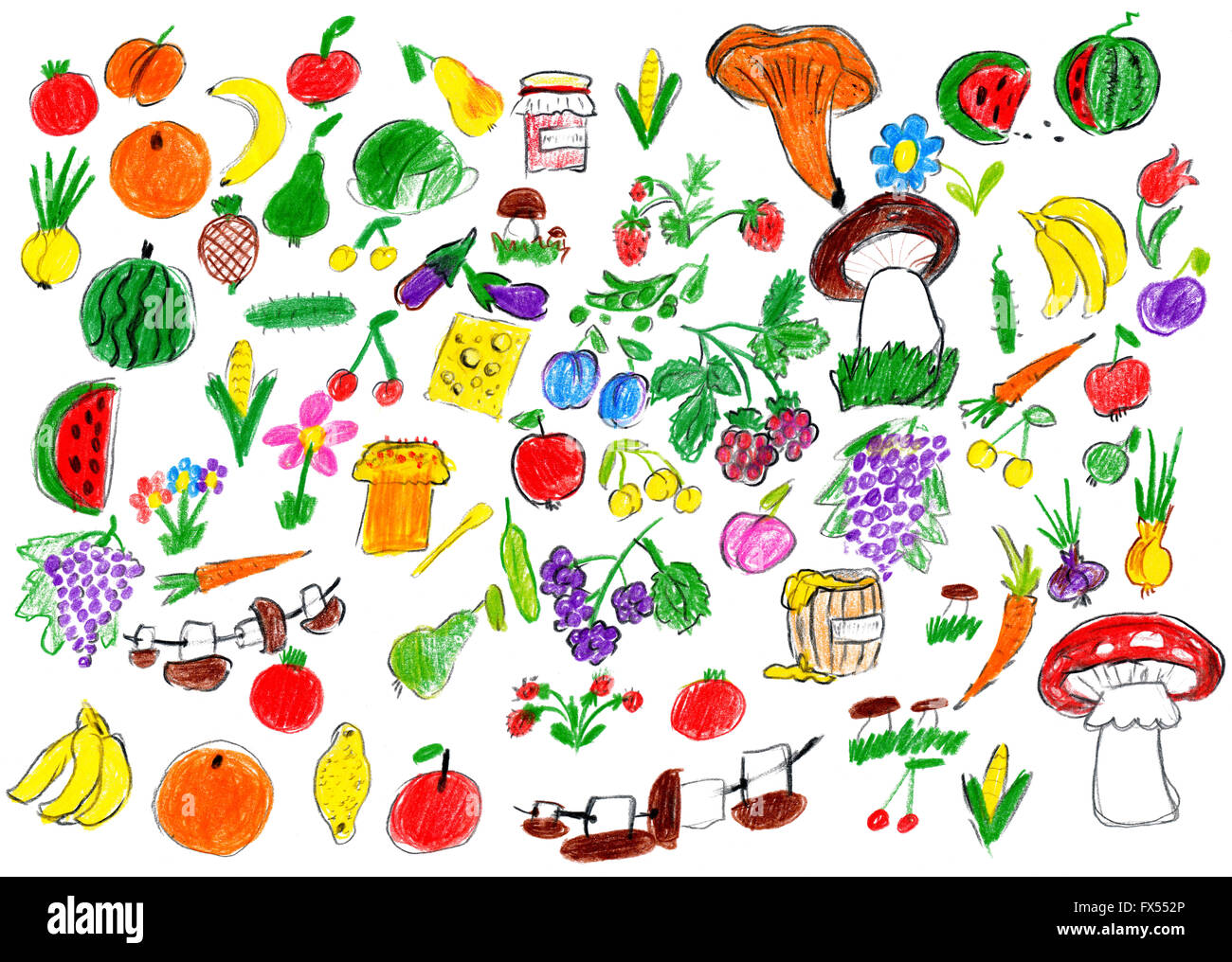 cartoon food collection, fruit and vegetables, child drawing object set on paper, hand drawn art picture - Stock Image